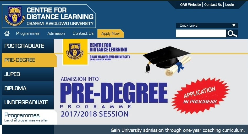 OAU Pre-Degree Form Is Out
