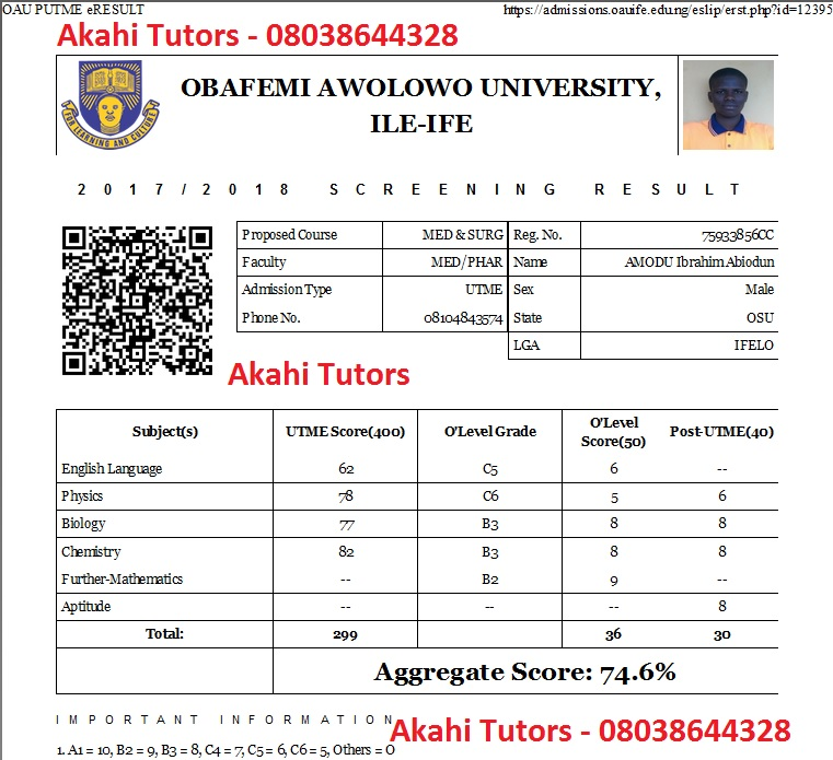 Akahi Tutors Student OAU Post UTME JAMB UTME Results