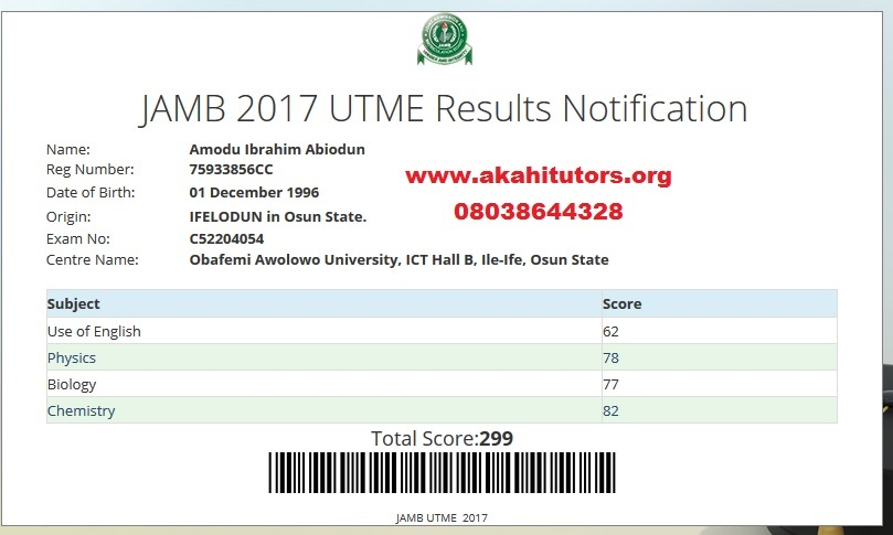 JAMB UTME Result Akahi Tutors