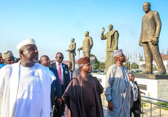 Photo: VP Yemi Osinbajo inspects the various statues built by Governor Okorocha in Imo State
