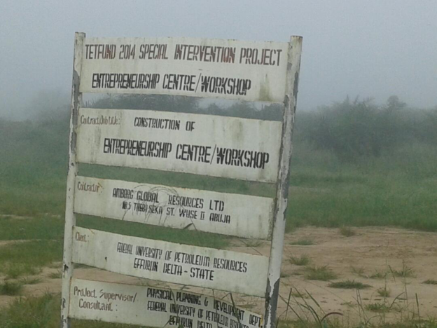 the-sign-post-showing-the-sponsor-tetfund-intervention-project-contractor-and-the-title-of-the-project