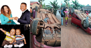 Nigerian Pastor, Wife And Twin Babies Survive Ghastly Motor Accident Without Scratch In Benin (Photos)