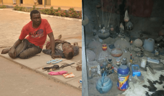 Photos of Gana's native doctor arrested after military raid on shrine in Benue