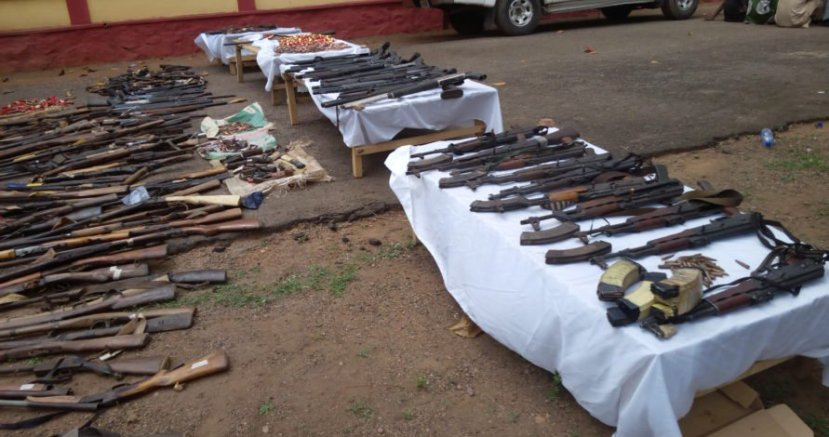 Taraba police recover 56 riffles, parade five suspects