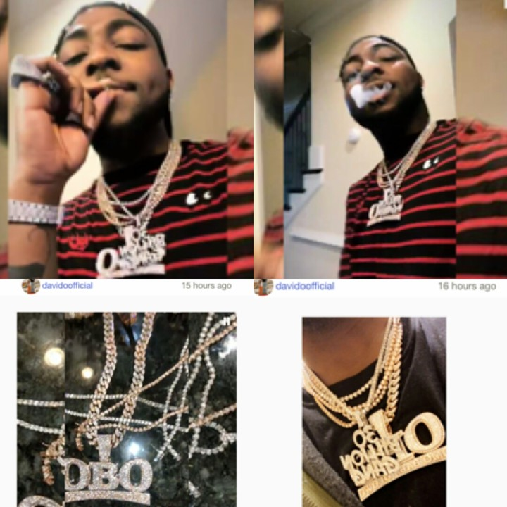 Smoking Davido Flaunts His Latest Iced Out Jewelry Collection (Photos)