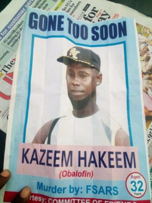 Burial Poster Of Man Allegedly Killed By SARS Operatives In Ogun State