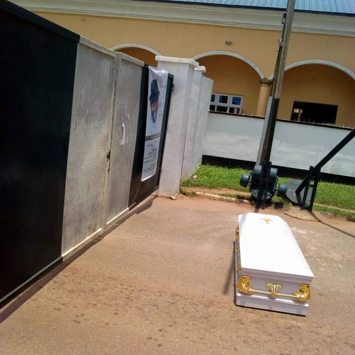 Corpse Of Pastor Who Was Killed By Herdsmen Dumped At Edo Government House (Photos)