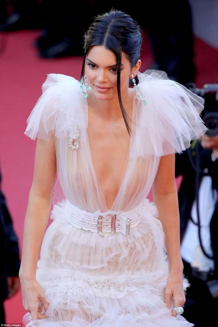 Kendall Jenner goes braless in yet another sheer gown at Cannes