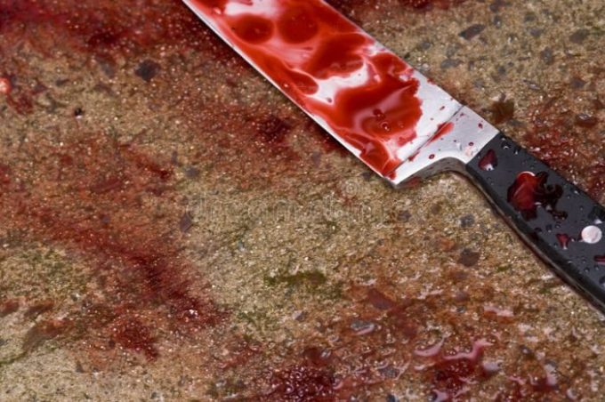 blood soaked knife