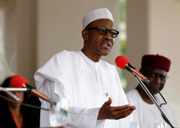 Nigerian President Muhammadu Buhari speaks at a joint news conference with his French counterpart Francois Hollande at the presidential villa in Abuja