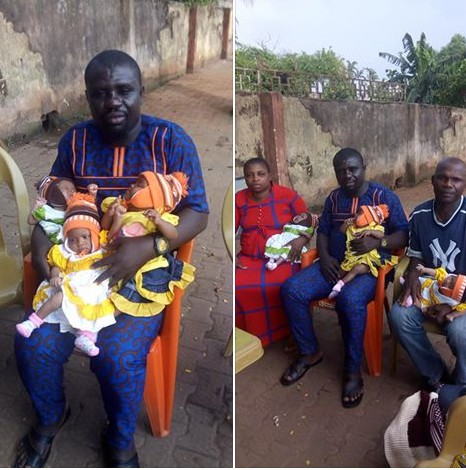 Okada Rider Who Fled After His Wife Gave Birth To Triplets, Comes Home (Photos)