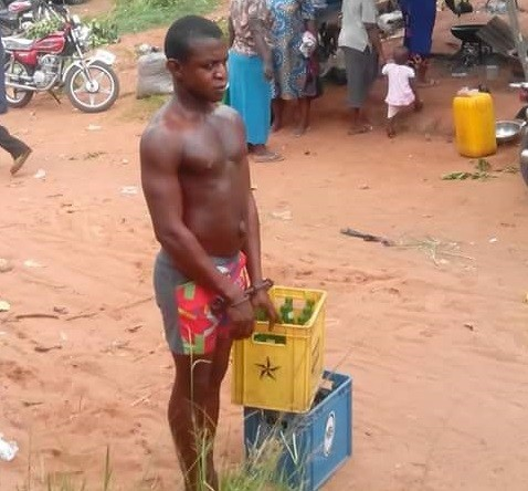 Man Who Stole Two Crates Of Beer In Anambra, Paraded (Photos)