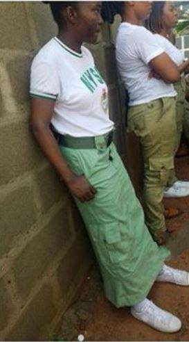 NYSC: Corper Turns Khaki Into Long Skirt