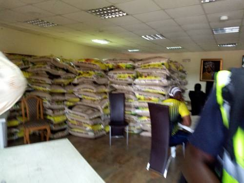 Grains of rice stored inside the residence of Kayode Fayemi, the APC governorship candidate, at Isan at Oye LGA