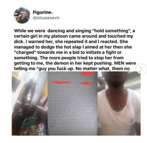 Sexual Harassment: Female Corper Touches Male Corper's Manhood. This Happened (Pics)