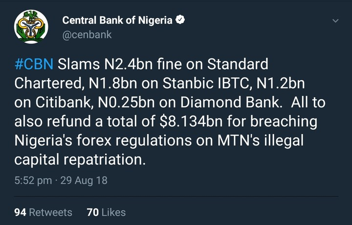 cbn-slams-fines-on-4-nigerian-banks-over-fund-repatriation-for-mtn