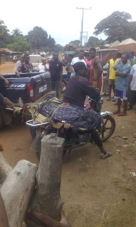 Corpse Of A Man Killed By His Brother-In-Law In Benue Tied On Okada (Photos)