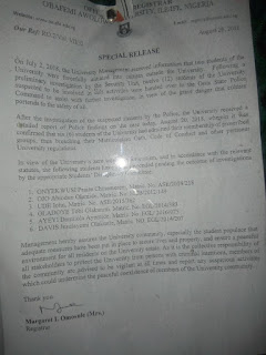 OAU Suspends Six Students Indefinitely Over Allegations Of Cultism