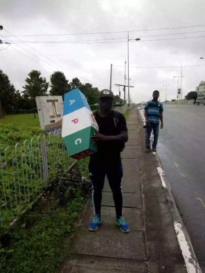 Man Who Trekked In Support Of APC In 2015, Now Trekking Against APC (Photos)