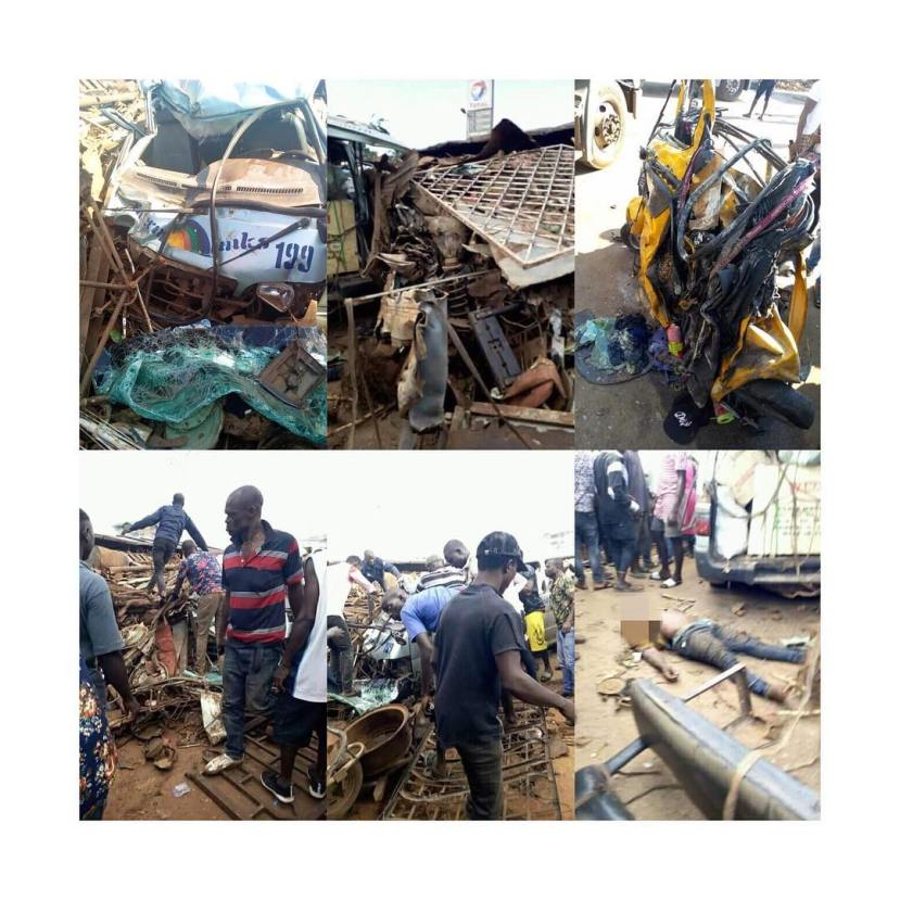 Many Feared Dead As Trailer Crushes Bus, Tricycles In Onitisha