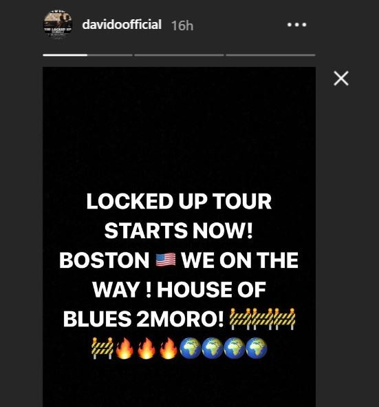 Davido heads to Boston for his US tour just days after registering for NYSC
