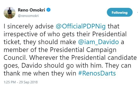 'I Sincerely Advise PDP To Make Davido A Member Of The Presidential Campaign Council' – Reno Omokri