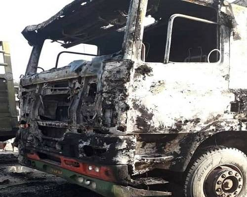 Sit-At-Home: IPOB Members Set Trucks On Fire In Rivers State (Photos)