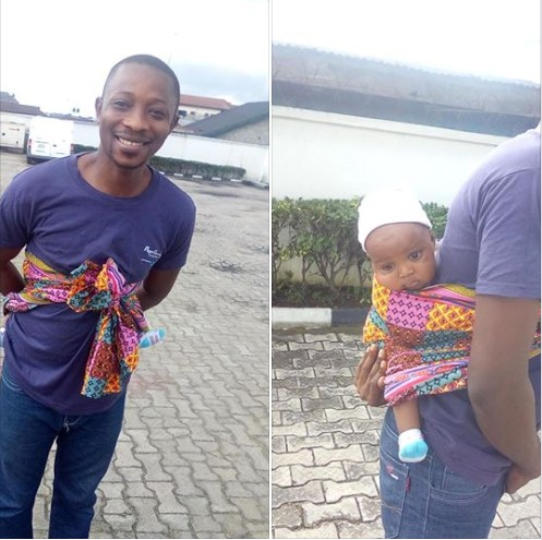 Man Causes A Scene After Backing His Baby To A Bank In Port-Harcourt (Photos)
