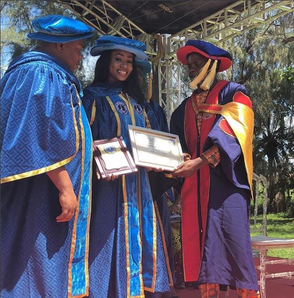 Wow: BBNaija Star, Anto Lecky Gets Conferred With Honorary Doctorate Degree (Photo)