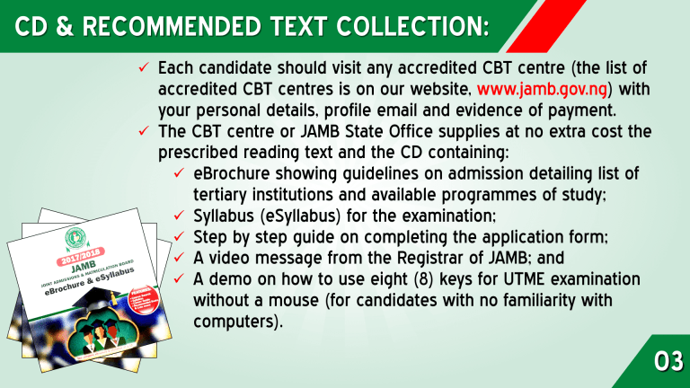 jamb-form-registration-process-three JAMB CD & RECOMMENDED TEXT COLLECTION