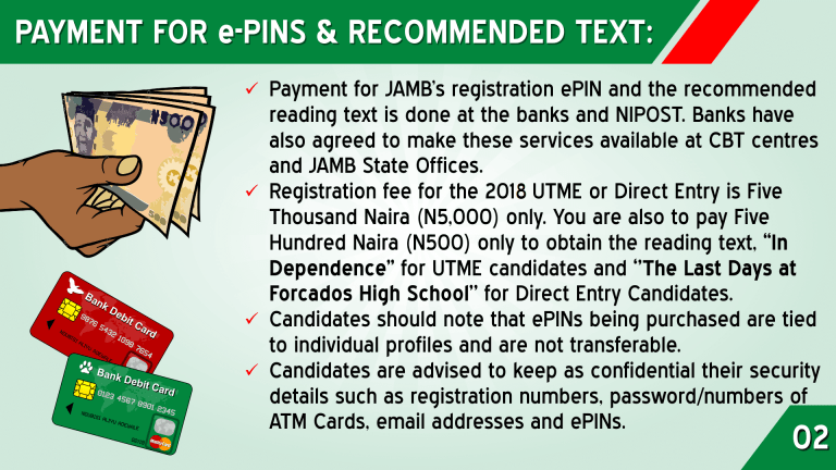 jamb form registration process two JAMB PAYMENT FOR e-PINS AND RECOMMENDED TEXT
