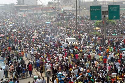 lagos protest National Day Of Mourning: Labour Shuts Down Lagos Roads