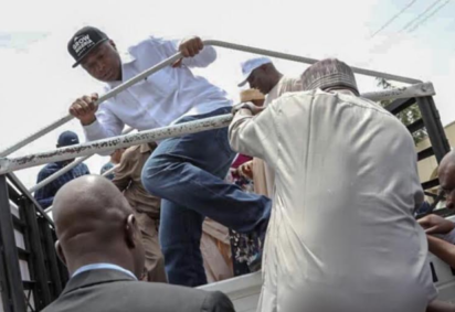 Photos: Saraki, others teargassed during protest in Abuja