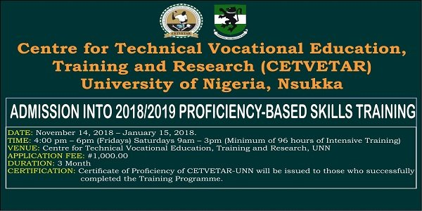 UNN Skills Training (CETVETAR) Admission Form