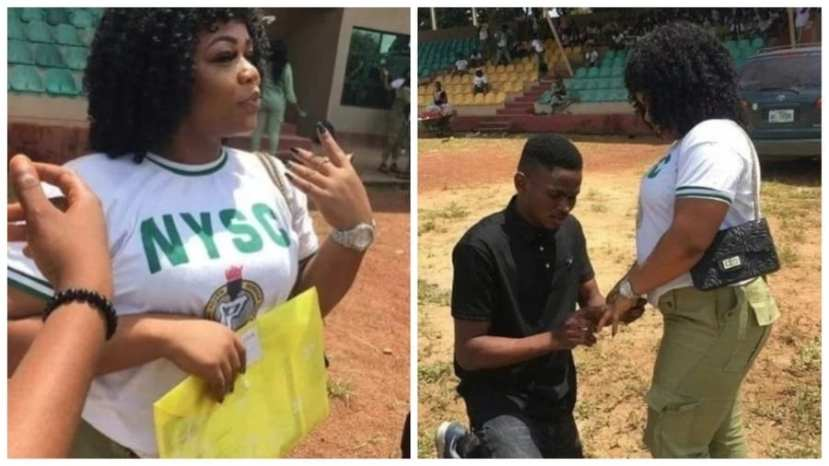 Corp member gets engaged during her passing out parade in Ebonyi state