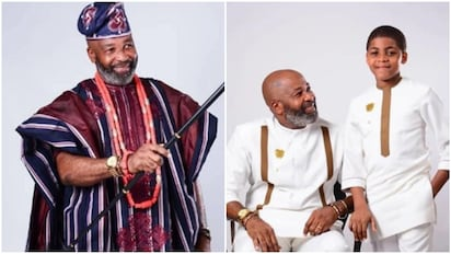 Nollywood actor Yemi Solade rocks matching traditional outfit with son