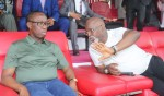 gov okowa with nff president amanju pinnick-conversing while watching the super eagles training
